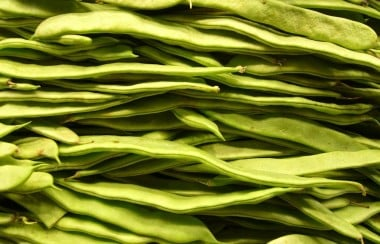 Pile of stacked green beans