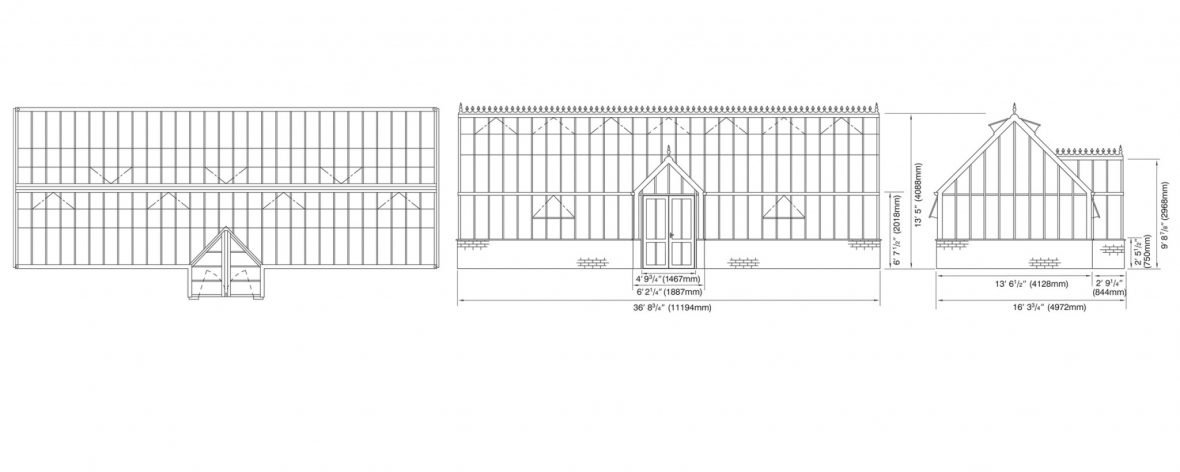 Technical Drawings of The Hartley Botanic Grand Manor Greenhouse