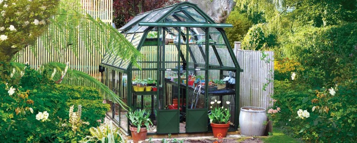 Front View of a Green Hartley Botanic Cottage Greenhouse.