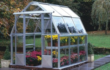 Front Right View of a White Hartley Botanic Cottage Greenhouse.