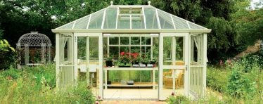 White Hartley Botanic Glass to Ground Greenhouse