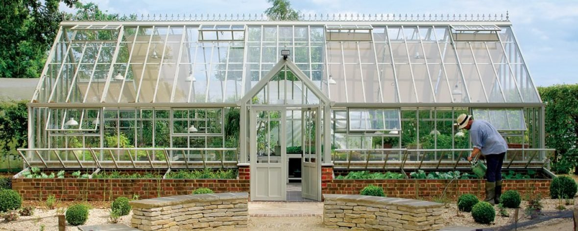 Front View of The Hartley Botanic Victorian Grand Manor Glasshouse.