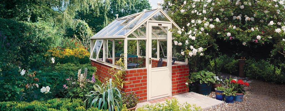White Hartley Botanic Tradition Range Greenhouse With Brick Foundations