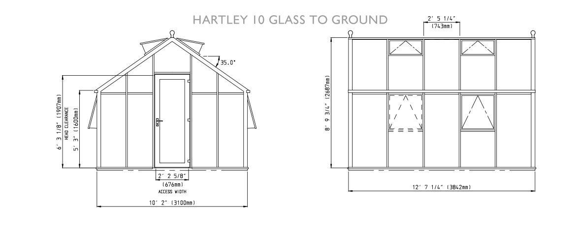 Drawings of Hartley Botanic 10 Glass to Ground Greenhouse