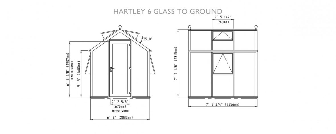 Drawings of Hartley Botanic 6 Glass to Ground Greenhouse