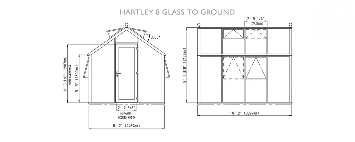 Drawings of Hartley Botanic 8 Glass to Ground Greenhouse