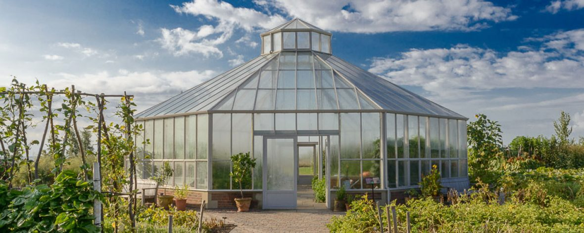 RHS Hyde Hall Front Entrance- A Bespoke Greenhouse Designed by Hartley Botanic