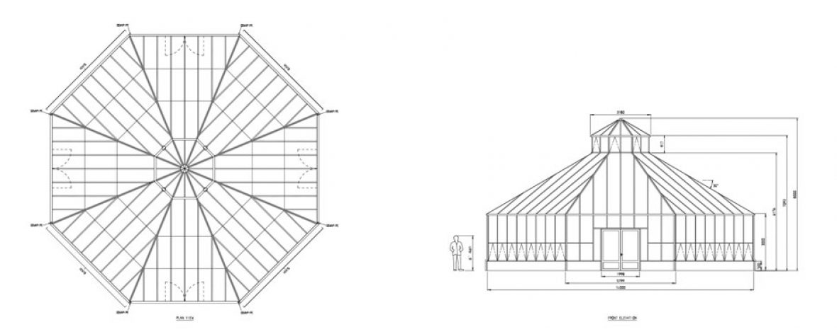 Drawings of the RHS Hyde Hall Bespoke Greenhouse by Hartley Botanic