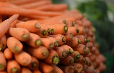 Pile of stacked carrots