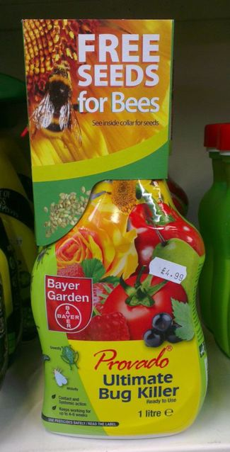 This bug killer contains the chemical imidacloprid, a neonic common in many garden products. Its packaging suggests its makers are devoid of any sense of irony…