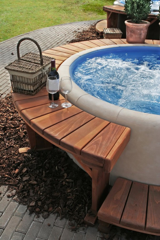 creating a luxury hot tub area in your garden by guestauthor. Black Bedroom Furniture Sets. Home Design Ideas