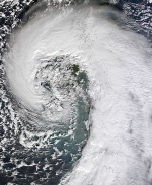 The Atlantic storm which battered the UK on February 12th, 2014. As our changing climate continues to tax us, our gardens can offer creative solutions to temper flooding and other extreme weather events.