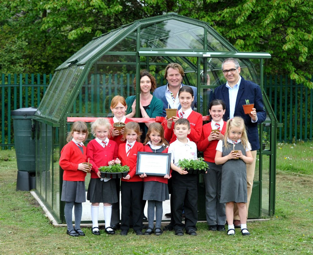 David Domoney and Hartley Botanic Owner Johnny Mobasher with students from Cranberry Academy