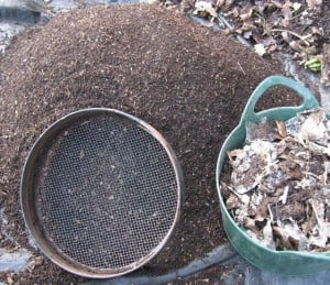 A workout with the riddle produces a heap of fine, crumbly compost that's been worked over by compost worms, which I mix 50:50 with leaf mould. The trug of won't-rot-at-any-price is all that gets, reluctantly, thrown away.