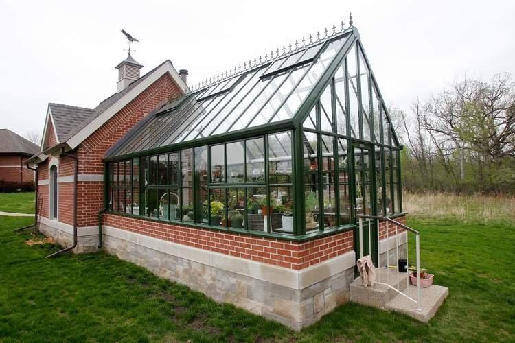 Dark green greenhouse