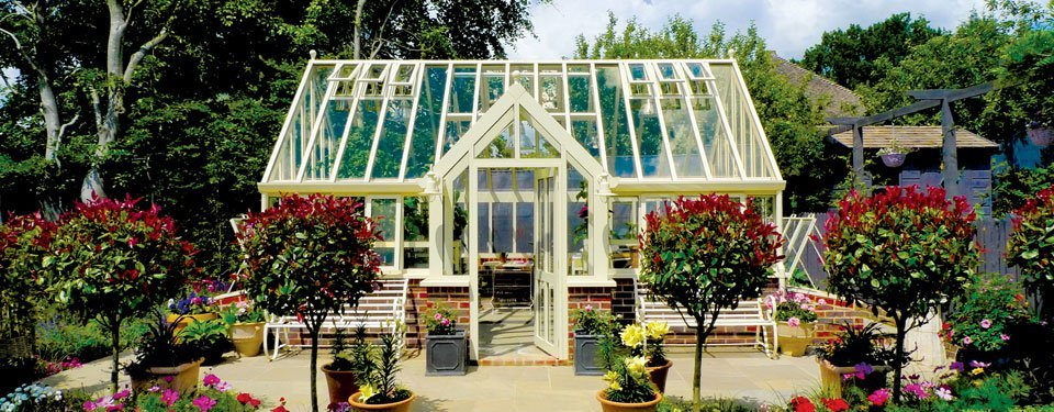 modern brick base glasshouse