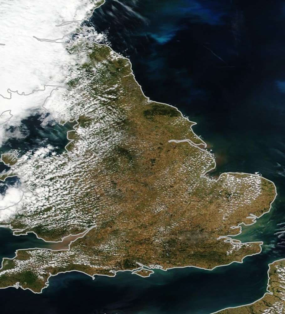 A satellite view of the UK in July 2018 after the drought.