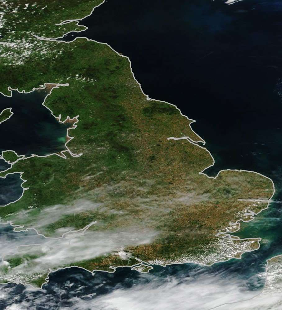 A satellite view of the UK before the drought in July 2017